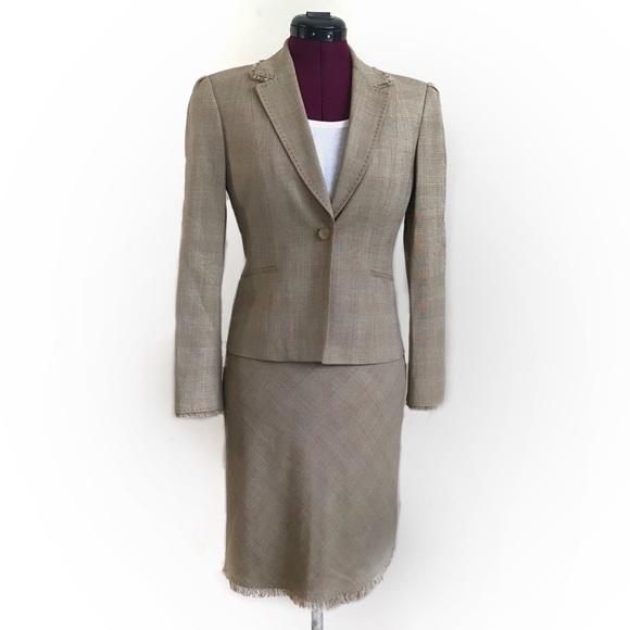 Elie Tahari Dresses 4 Womens Tan Suit Blazer Pencil Skirt Poshmark